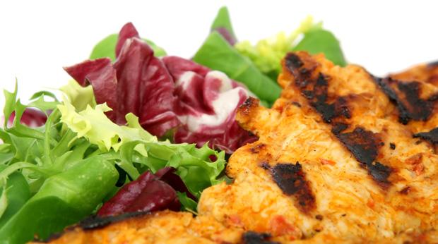 Salat und Fleisch